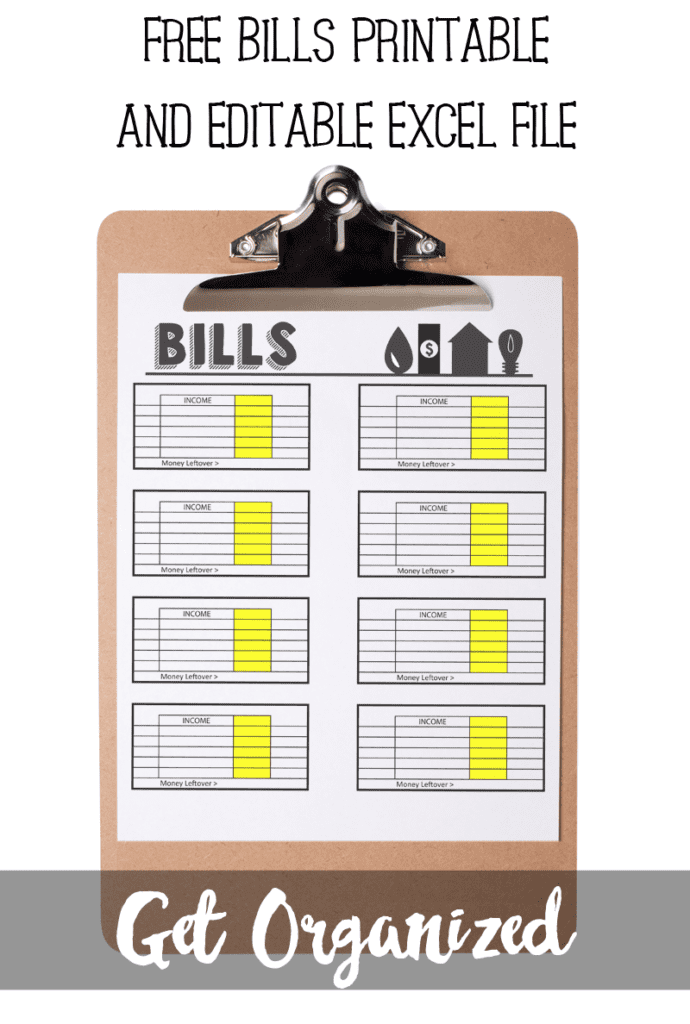 Keep track of money coming in and out with a free bill tracker printable and editable excel file. http://www.poofycheeks.com