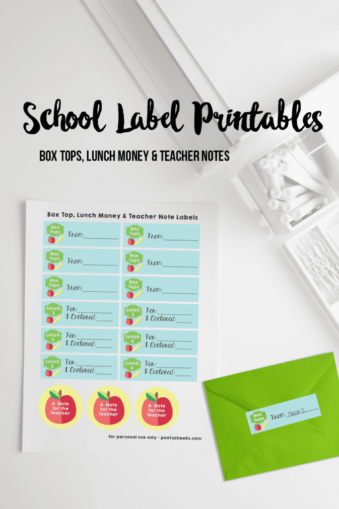 Send lunch money, box tops and notes to school with labels. Free back to school printable.