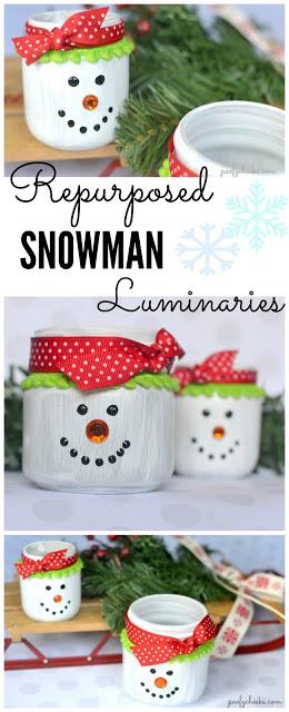 DIY Repurposed Glass Jar Snowman Luminaries - Turn glass jars into these cute snowmen!